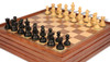 "Deluxe Old Club Staunton Chess Set in Ebonized Boxwood with Walnut Chess & Backgammon Case - 3.25"" King"