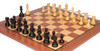 """Deluxe Old Club Staunton Chess Set Ebonized & Boxwood Pieces with Classic Mahogany Chess Board - 3.25"""" King"""