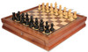 "Deluxe Old Club Staunton Chess Set Ebonized & Boxwood Pieces with Walnut Chess Case - 3.25"" King"