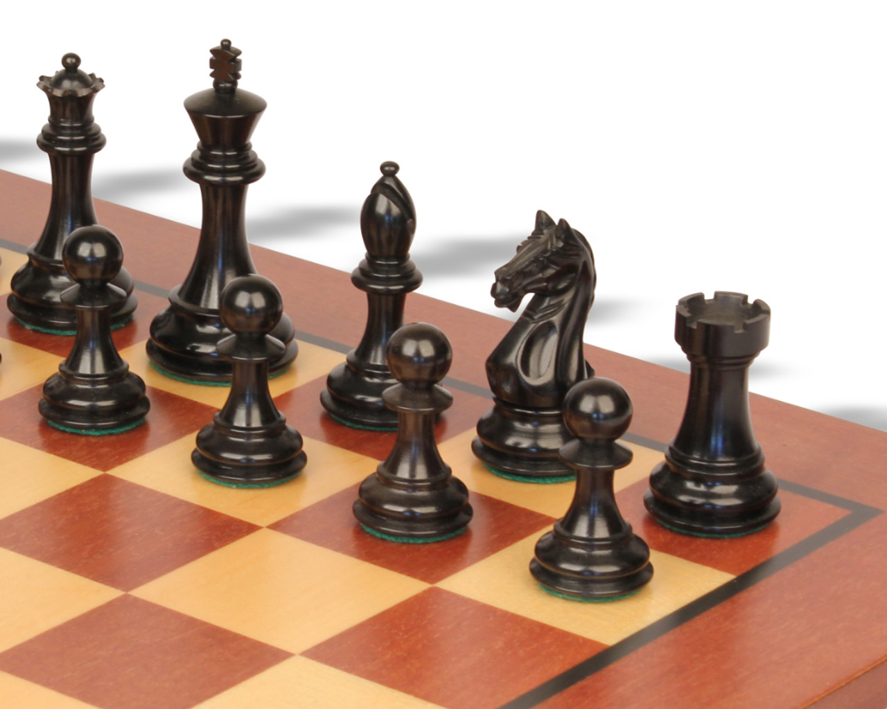Fierce Knight Staunton Chess Set Ebonized Boxwood Pieces With Classic Mahogany Chess Board 4 King