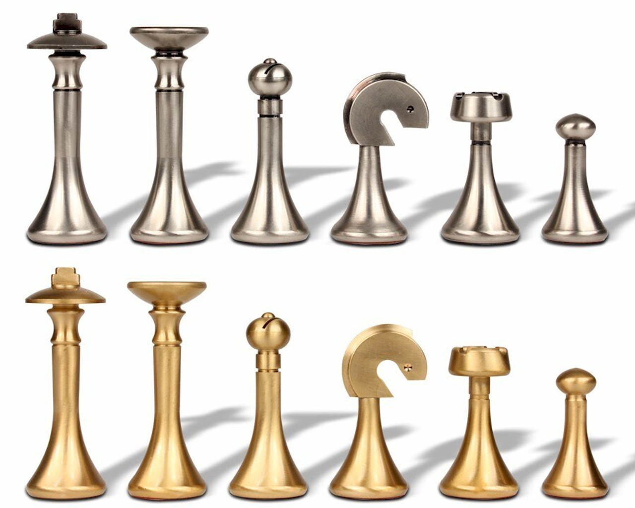 Modern Design Solid Brass Chess Set By Italfama The Chess Store