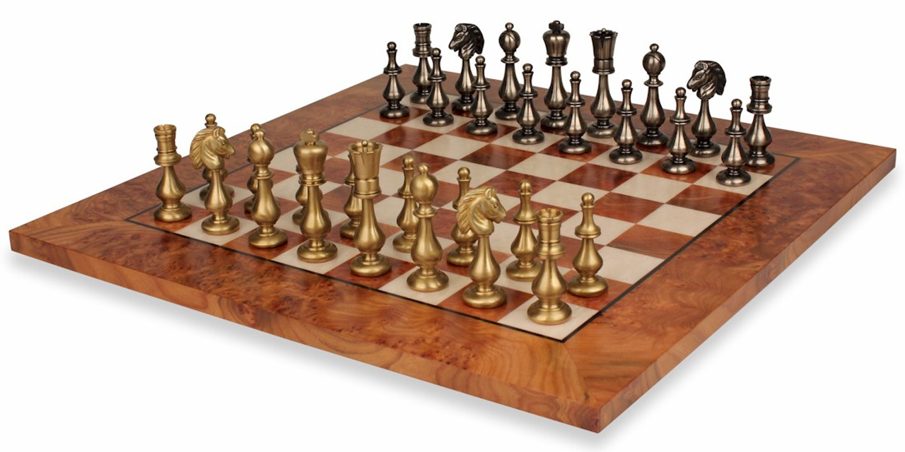 Large Contemporary Staunton Solid Brass Chess Set With Elm Burl Chess Board The Chess Store,Home Decorating Programs