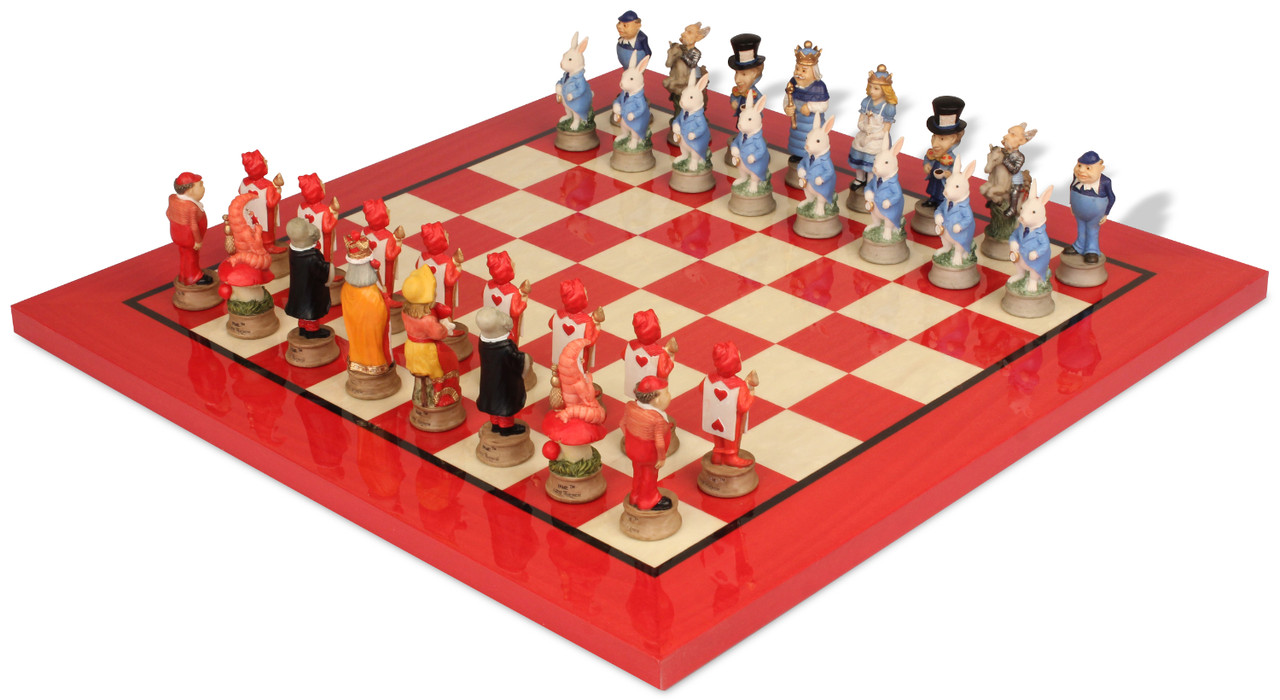 Unique Alice in Wonderland Theme Chess Set with Red & Erable Deluxe Chess Board from The Chess Store for $249!