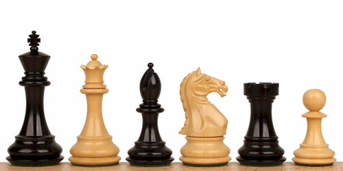 "Fierce Knight Staunton Chess Set Ebonized and Natural Boxwood Pieces 3"" King"