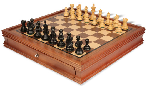 "Fierce Knight Staunton Chess Set Ebonized and Boxwood Pieces with Walnut Chess Case 3"" King"