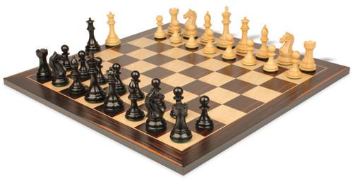 "Fierce Knight Staunton Chess Set Ebonized and Boxwood Pieces with Macassar Ebony Classic Chess Board 3.5"" King - View 1"