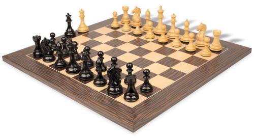 "Fierce Knight Staunton Chess Set Ebonized & Boxwood Pieces with Tiger Ebony Deluxe Chess Board - 4"" King"