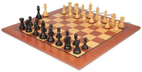 "Fierce Knight Staunton Chess Set Ebonized and Boxwood Pieces with Mahogany Classic Chess Board 4"" King"