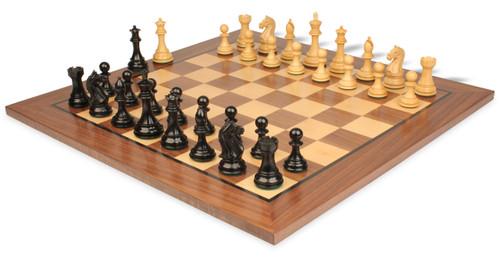 "Fierce Knight Staunton Chess Set Ebonized and Boxwood Pieces with Walnut Classic Chess Board 4"" King - View 1"
