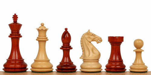 "Fierce Knight Staunton Chess Set in African Padauk & Boxwood - 4"" King"
