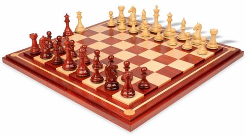 "Fierce Knight Staunton Chess Set in African Padauk & Boxwood with Mission Craft African Padauk Chess Board - 4"" King"