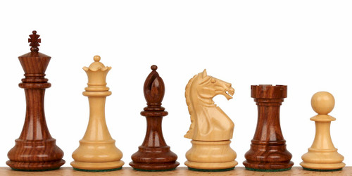 "Fierce Knight Staunton Chess Set Golden Rosewood and Boxwood Pieces 3.5"" King"