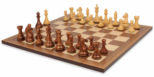 """Fierce Knight Staunton Chess Set Golden Rosewood & Boxwood Pieces with Classic Walnut Chess Board - 3.5"""" King"""