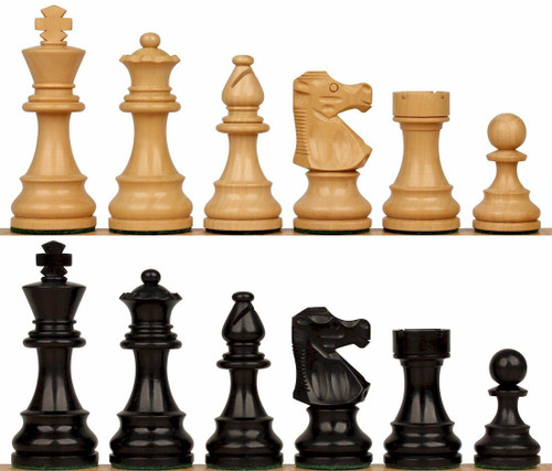 "French Lardy Staunton Chess Set with Ebonized & Boxwood Pieces - 2.75"" King"
