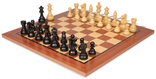 "French Lardy Staunton Chess Set Ebonized and Boxwood Pieces with Classic Mahogany Chess Board 2.75"" King"