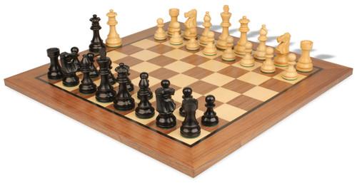 "French Lardy Staunton Chess Set Ebonized and Boxwood Pieces with Classic Walnut Chess Board 2.75"" King - View 1"