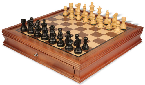 "French Lardy Staunton Chess Set Ebonized and Boxwood Pieces with Walnut Chess Case 3.25"" King"