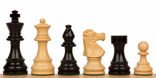 "French Lardy Staunton Chess Set Ebonized and Natural Boxwood Pieces 3.75"" King"