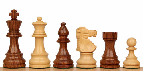 "French Lardy Staunton Chess Set Golden Rosewood & Boxwood Pieces - 3.25"" King"