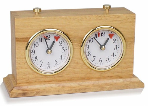 Chess Clock Natural Wood Case with Base