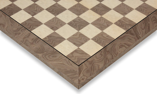 "Gray Ash Burl & Erable High Gloss Deluxe Chess Board - 1.75"" Squares"