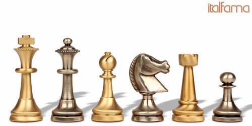 Traditional Staunton Solid Brass Chess Set by Italfama