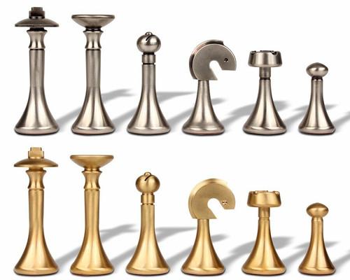 Modern Design Solid Brass Chess Set by Italfama