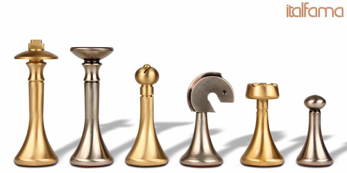 Modern Solid Brass Chess Set by Italfama