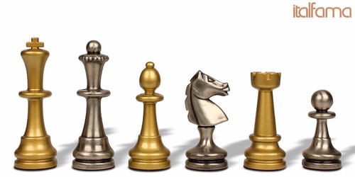 Large Staunton Metal Chess Set by Italfama