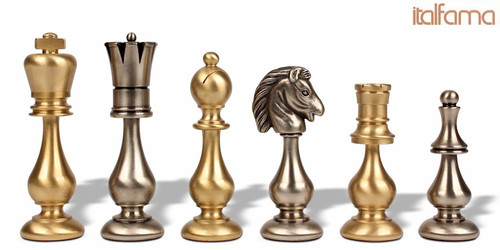 Large Contemporary Staunton Solid Brass Chess Set by Italfama