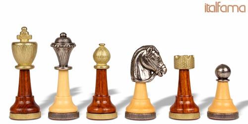 Italian Arabesque Staunton Metal & Wood Chess Set by Italfama