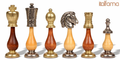Large Italian Arabesque Staunton Metal & Wood Chess Set by Italfama