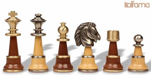 Large Classic Staunton Brass & Wood Chess Set by Italfama