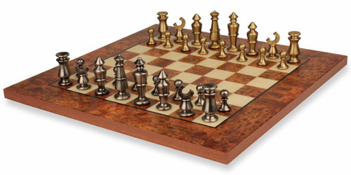 Contemporary Solid Brass Chess Set with Elm Burl Chess Board
