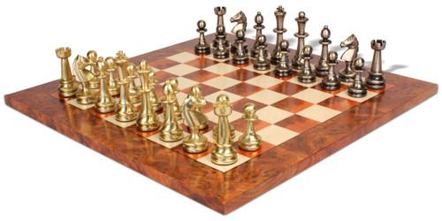 Large Staunton Metal Chess Set with Elm Burl Chess Board