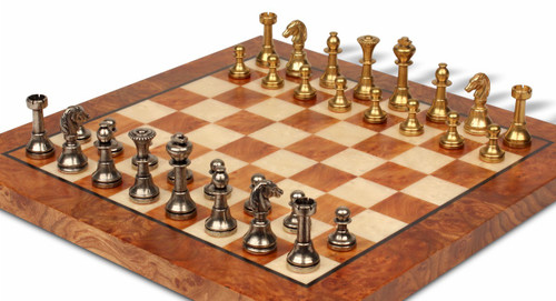 Small Staunton Solid Brass Chess Set with Elm Burl Chess Board