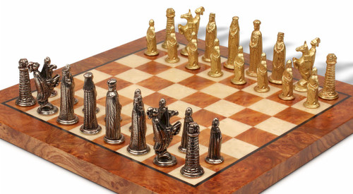Small Medieval Theme Metal Chess Set with Elm Burl Chess Board
