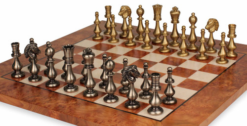Large Contemporary Staunton Solid Brass Chess Set with Elm Burl Chess Board