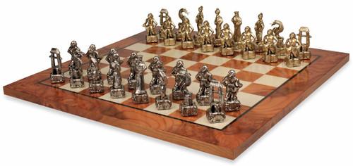 Samurai Theme Metal Chess Set with Elm Burl Chess Board
