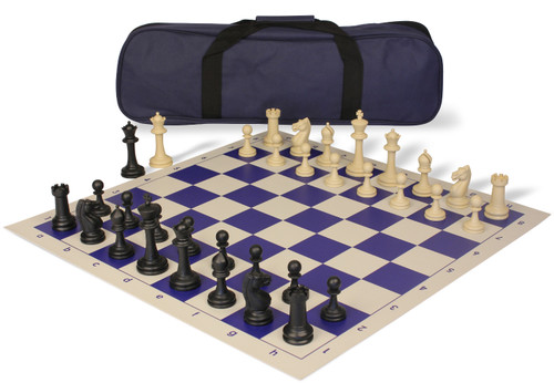 Master Series Carry-All Plastic Chess Set Black & Tan Pieces with Blue Roll-up Chess Board & Bag