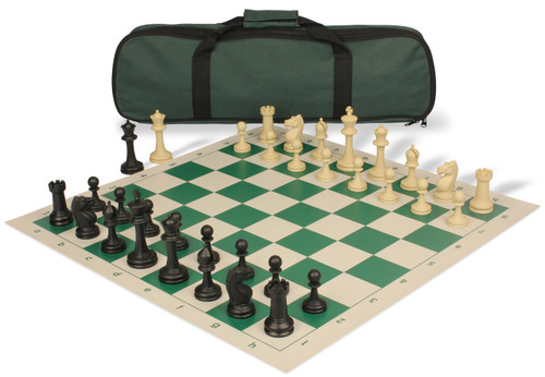 Master Series Carry-All Plastic Chess Set Black & Tan Pieces with Green Roll-up Chess Board & Bag
