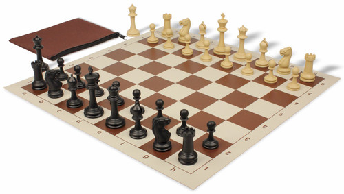 Master Series Classroom Plastic Chess Set Black & Tan Pieces with Brown Roll-up Chess Board & Bag