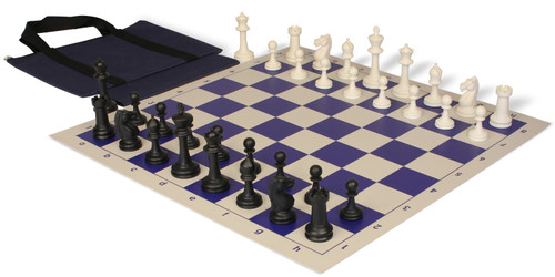 Master Series Easy-Carry Plastic Chess Set Black & Ivory Pieces with Blue Roll-up Chess Board & Bag