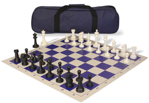 Master Series Carry-All Plastic Chess Set Black & Ivory Pieces with Blue Roll-up Chess Board & Bag