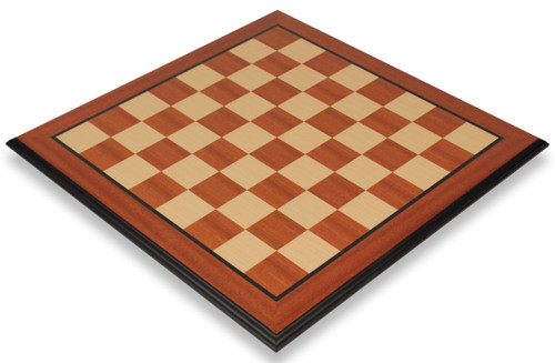 "Mahogany & Maple Molded Edge Chess Board - 2.375"" Squares"