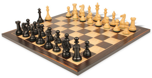 "New Exclusive Staunton Chess Set Ebonized & Boxwood Pieces with Classic Macassar Ebony Chess Board - 3"" King"