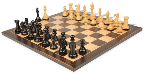 "New Exclusive Staunton Chess Set Ebonized & Boxwood Pieces with Classic Macassar Ebony Chess Board - 3"" King"