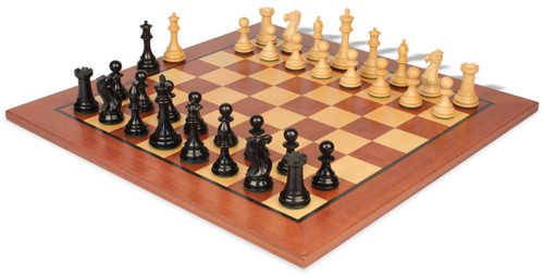 """New Exclusive Staunton Chess Set Ebonized & Boxwood Pieces with Classic Mahogany Chess Board  - 3"""" King"""