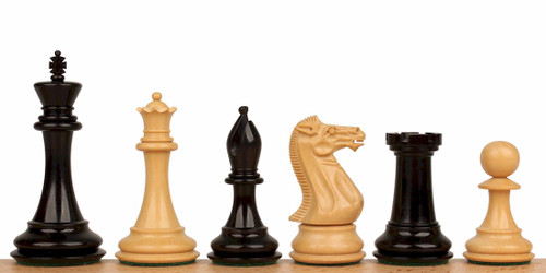 "New Exclusive Staunton Chess Set Ebonized and Natural Boxwood Pieces 3.5"" King"