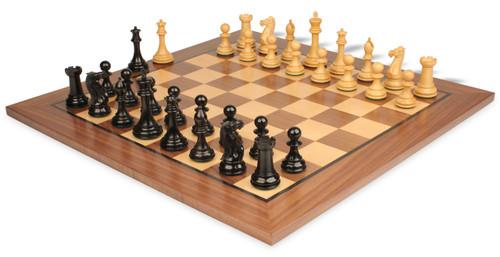 "New Exclusive Staunton Chess Set Ebonized & Boxwood Pieces with Classic Walnut Chess Board - 4"" King"